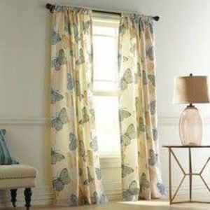 Pier 1 Flocked Butterfly Curtain Blue/Gold